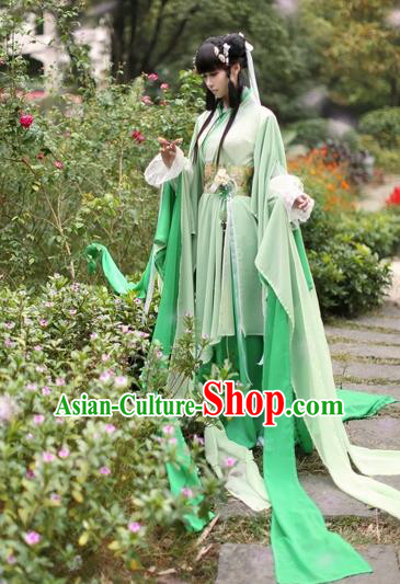 Chinese Ancient Costume Cosplay Swordswoman Clothing Jin Dynasty Nobility Lady Green Hanfu Dress for Women