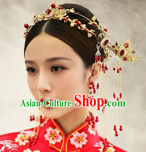 Ancient Chinese Handmade Traditional Hair Accessories Hairpins Red Beads Tassel Hair Clasp for Women