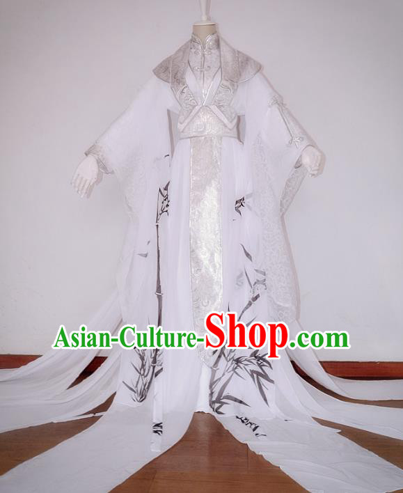 Chinese Ancient Cosplay Nobility Childe Costume Jin Dynasty Swordsman Printing Bamboo Clothing for Men