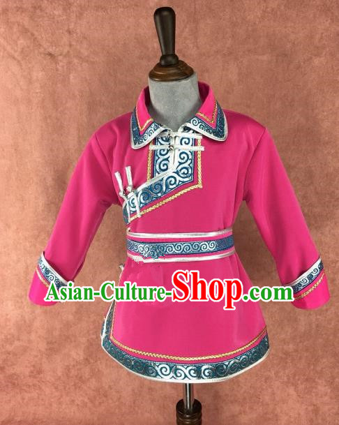 Chinese Traditional Children Ethnic Costume Rosy Mongolian Robe, China Mongolian Minority Folk Dance Clothing for Kids