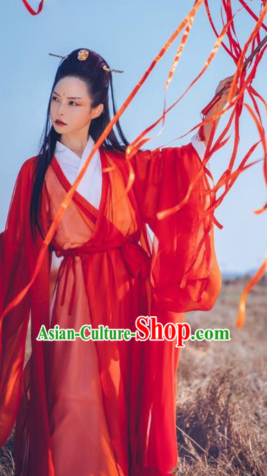 Chinese Ancient Martial Arts Costumes Jin Dynasty Swordsman Hanfu Dress Clothing for Women
