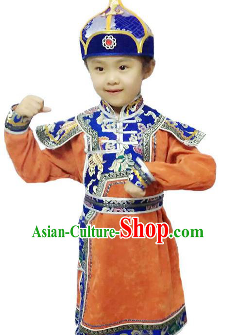 Chinese Mongol Nationality Costume Traditional Mongolian Minority Folk Dance Orange Mongolian Robe for Kids
