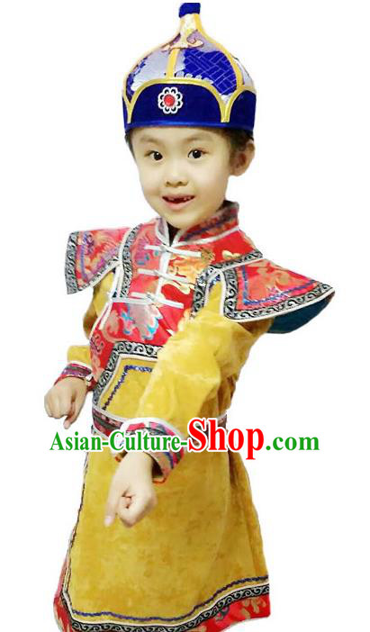 Chinese Mongol Nationality Costume Traditional Mongolian Minority Folk Dance Yellow Mongolian Robe for Kids