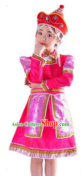 Chinese Mongol Nationality Folk Dance Costume Traditional Mongolian Minority Pink Mongolian Robe for Kids