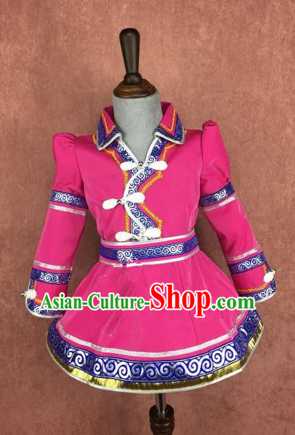 Chinese Traditional Girls Rosy Mongolian Robe Ethnic Costume, China Mongolian Minority Folk Dance Clothing for Kids
