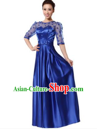 Top Grade Chorus Singing Group Modern Dance Royalblue Dress, Compere Classical Dance Costume for Women