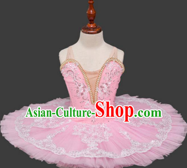 Top Grade Ballet Dance Costume Pink Bubble Dress Ballerina Dance Tu Tu Dancewear for Women