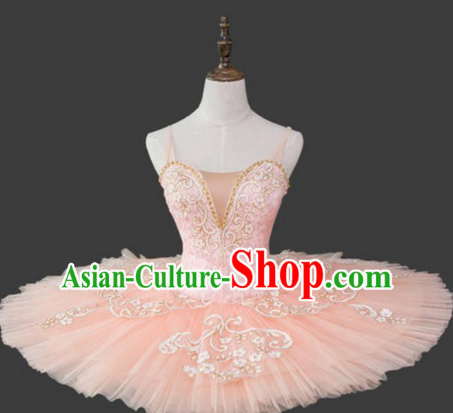 Top Grade Modern Dance Costume Ballet Ballerina Dance Pink Dress for Women
