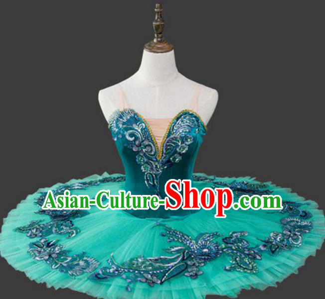 Top Grade Modern Dance Costume Ballet Ballerina Dance Green Bubble Dress Tu Tu Dancewear for Women