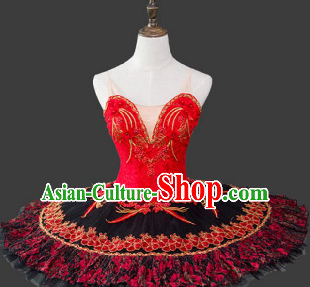 Top Grade Ballet Dance Costume Ballerina Dance Tu Tu Dancewear Red Bubble Dress for Women