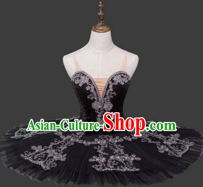 Top Grade Ballet Dance Costume Ballerina Dance Tu Tu Dancewear Black Bubble Dress for Women