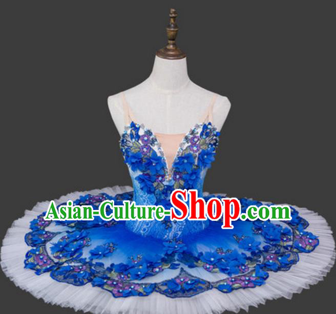 Top Grade Ballet Dance Costume Blue Bubble Dress Ballerina Dance Tu Tu Dancewear for Women