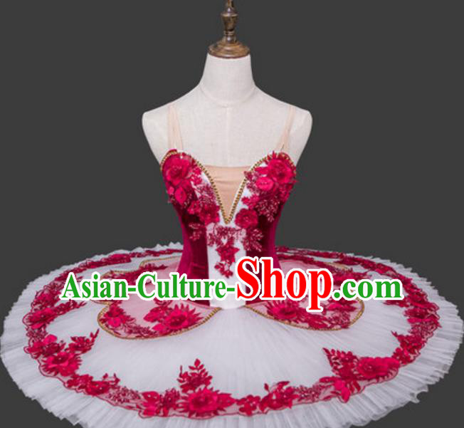 Top Grade Ballet Dance Costume Rosy Bubble Dress Ballerina Dance Tu Tu Dancewear for Women