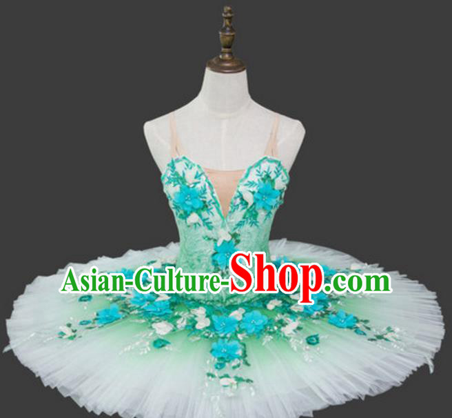 Top Grade Ballet Dance Costume Green Bubble Dress Ballerina Dance Tu Tu Dancewear for Women