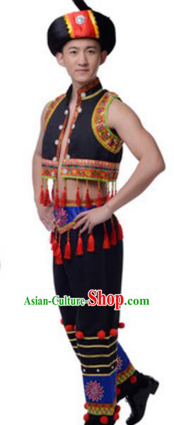 Traditional Chinese Zhuang Nationality Male Clothing, Chinese Zhuang Ethnic Dance Costume and Hat for Men
