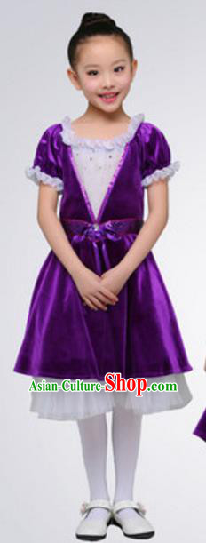 Top Grade Modern Dance Ballet Dance Purple Dress Stage Performance Chorus Costume for Kids