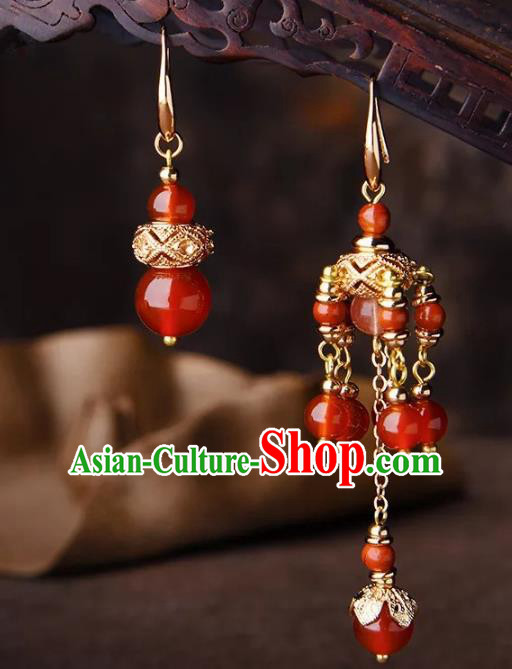 Chinese Traditional Jewelry Accessories Ancient Palace Hanfu Red Beads Earrings for Women