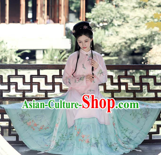 a98e5259175 Chinese Ming Dynasty Princess Hanfu Dress Ancient Peri Goddess Embroidered  Costumes Complete Set for Women