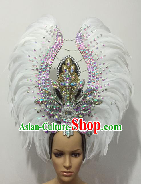 Deluxe Carnival Showgirl Black and Silver Feather Headpiece
