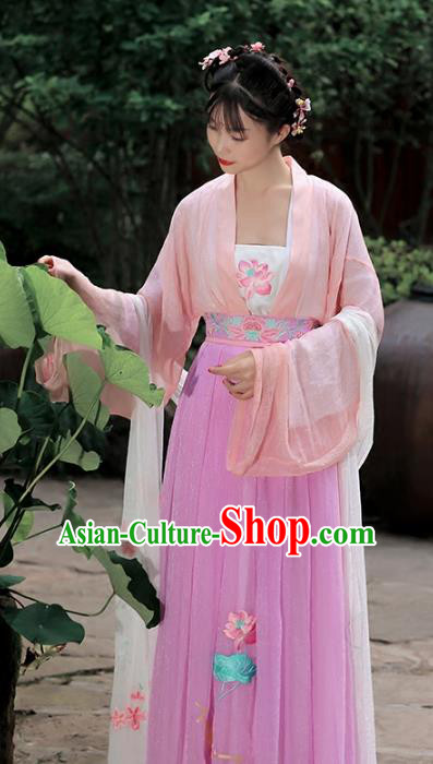 4cd2ea458 Traditional Chinese Ancient Peri Hanfu Dress Tang Dynasty Princess  Embroidered Lotus Costumes for Women