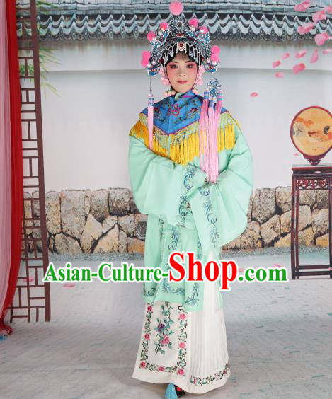 Professional Chinese Beijing Opera Diva Embroidered Green Costumes Blue Shawl Clothing and Headwear for Adults
