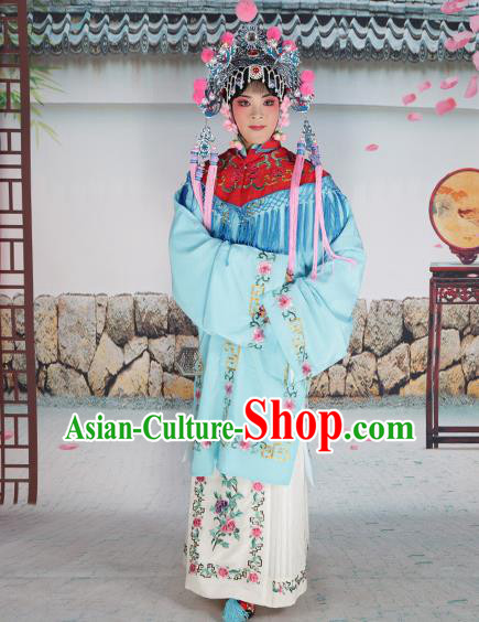 Professional Chinese Beijing Opera Diva Embroidered Blue Costumes Red Shawl Clothing and Headwear for Adults