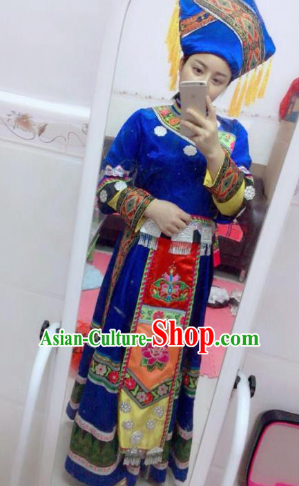 Chinese Traditional Zhuang Nationality Embroidered Costumes Hmong Dress and Hat for Women