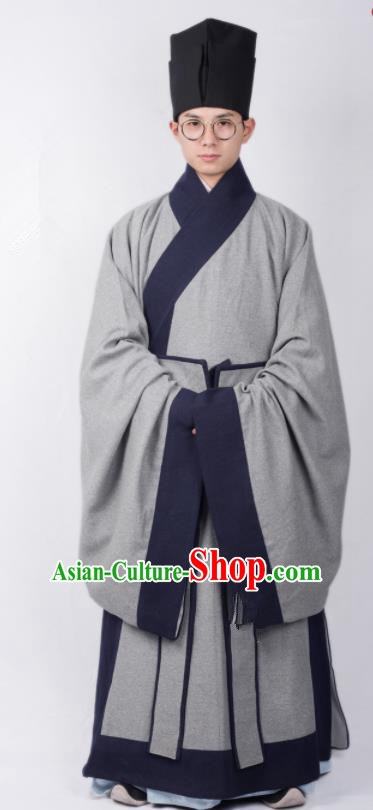 Ming Dynasty Clothes Men Chinese Ancient Scholar Grey Clothing Traditional Ming Dynasty Taoist Priest Costumes for Men