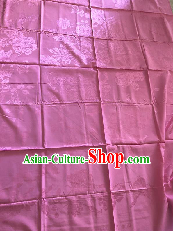 Asian Chinese Traditional Fabric Palace Flowers Birds Pattern Pink Brocade Cloth Silk Fabric