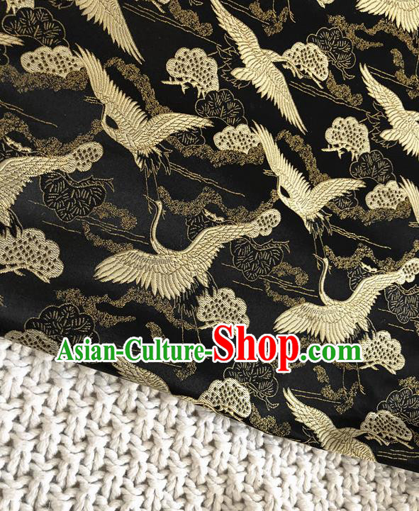 Asian Chinese Traditional Silk Fabric Crane Pattern Black Brocade Cheongsam Embroidered Cloth Silk Fabric