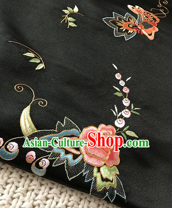 Asian Chinese Traditional Black Silk Fabric Royal Peony Pattern Brocade Cheongsam Cloth Silk Fabric