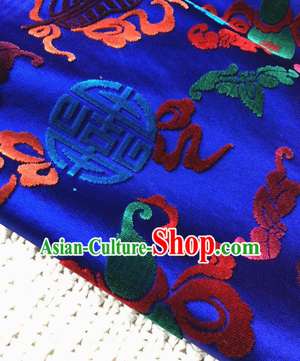 Asian Chinese Traditional Silk Fabric Classical Pattern Royalblue Brocade Cheongsam Embroidered Cloth Silk Fabric
