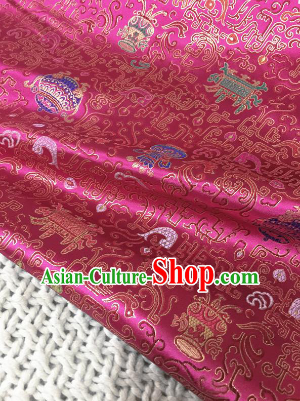 Asian Chinese Traditional Rosy Silk Fabric Royal Pattern Brocade Cheongsam Cloth Silk Fabric