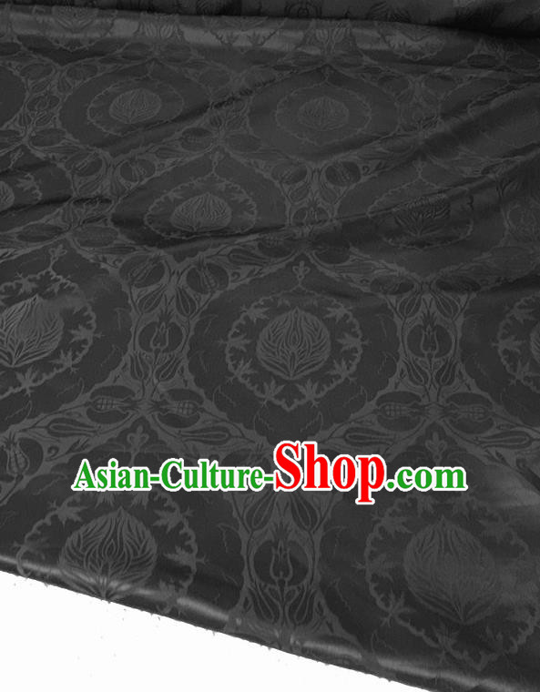 Asian Chinese Traditional Black Silk Fabric Royal Pattern Brocade Cheongsam Cloth Silk Fabric