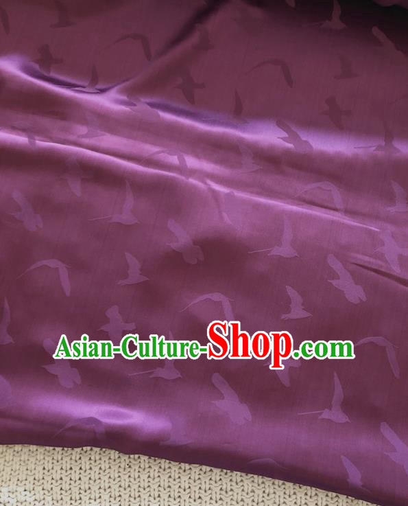 Asian Chinese Traditional Silk Fabric Classical Pattern Purple Brocade Cheongsam Embroidered Cloth Silk Fabric