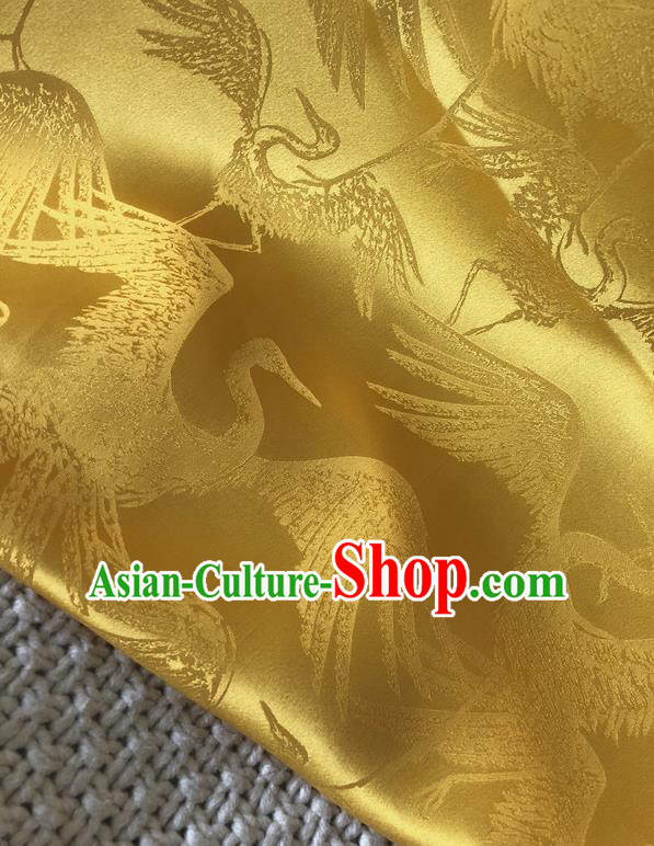 Asian Chinese Traditional Silk Fabric Classical Crane Pattern Yellow Brocade Cheongsam Embroidered Cloth Silk Fabric