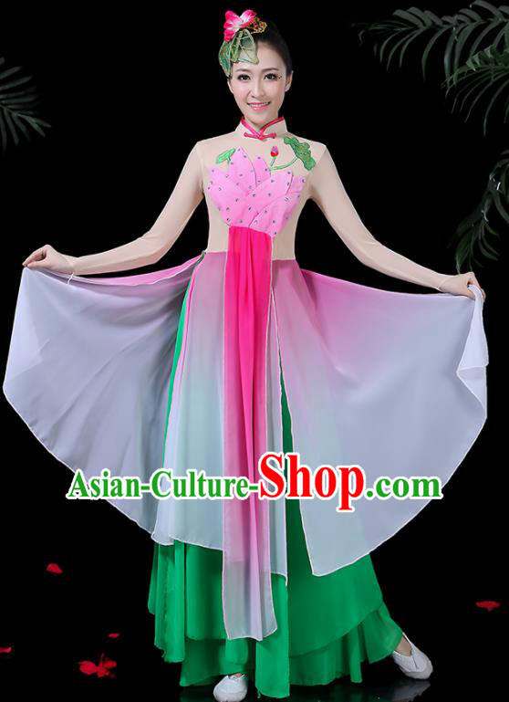 Chinese Classical Dance Lotus Dance Green Dress Traditional Folk Dance Fan Dance Clothing for Women