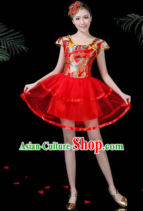 Chinese Classical Dance Drum Dance Red Dress Traditional Folk Dance Fan Dance Clothing for Women