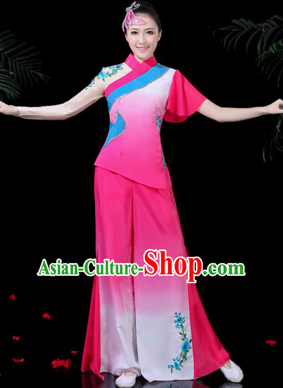 Chinese Classical Dance Rosy Costume Traditional Yangko Folk Dance Fan Dance Clothing for Women