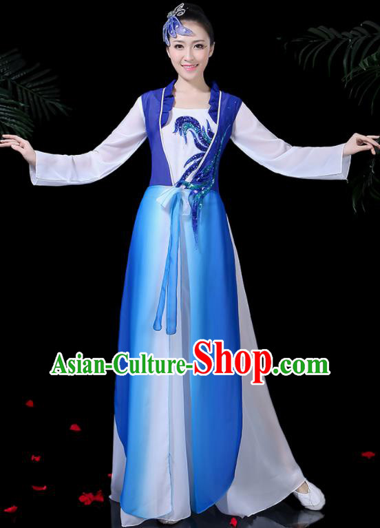 Chinese Classical Dance Royalblue Costume Traditional Yangko Folk Dance Fan Dance Clothing for Women