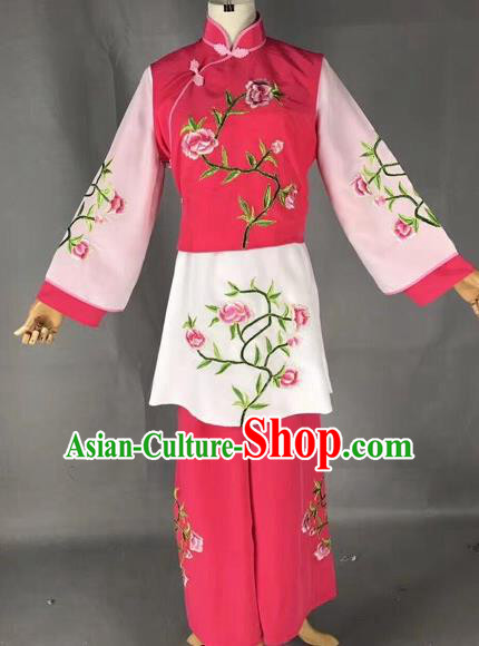 43791713d Chinese Traditional Beijing Opera Maidservants Embroidered Rosy Clothing  Peking Opera Diva Costumes for Adults
