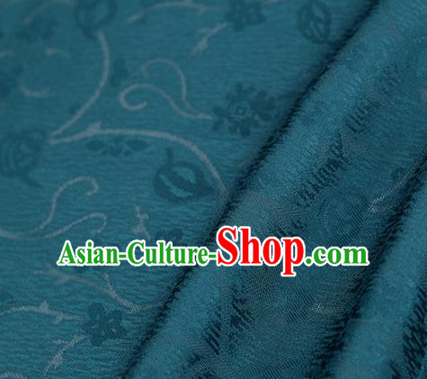 Traditional Chinese Classical Plum Blossom Pattern Peacock Green Silk Fabric Ancient Hanfu Dress Silk Cloth
