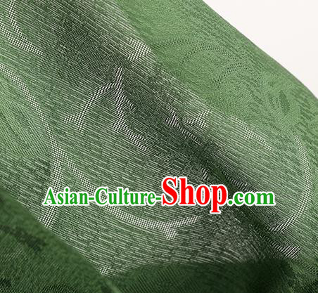 Traditional Chinese Classical Plum Blossom Pattern Deep Green Silk Fabric Ancient Hanfu Dress Silk Cloth