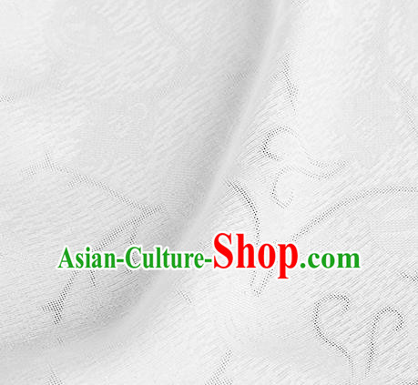 Traditional Chinese Classical Plum Blossom Pattern White Silk Fabric Ancient Hanfu Dress Silk Cloth
