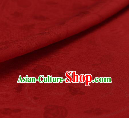 Traditional Chinese Classical Plum Blossom Pattern Red Silk Fabric Ancient Hanfu Dress Silk Cloth