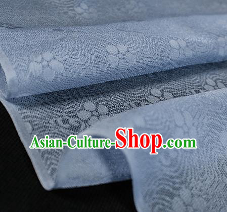 Traditional Chinese Light Blue Silk Fabric Classical Plum Blossom Pattern Silk Cloth