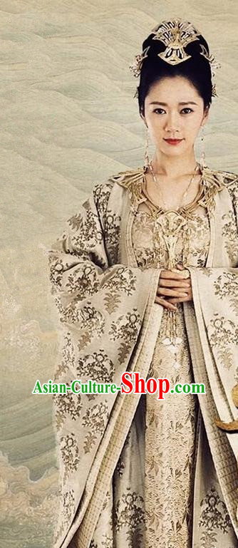 Chinese Drama Ancient Queen of Yin Empire Dress Novoland Eagle Flag Empress Replica Costumes and Headpiece for Women