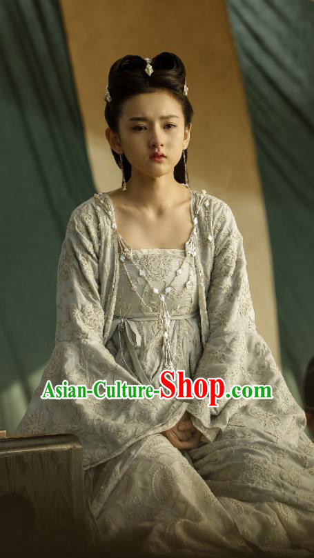 Chinese Ancient Princess Drama Novoland Eagle Flag Yu Ran Song Zu Er Replica Costumes and Headpiece for Women