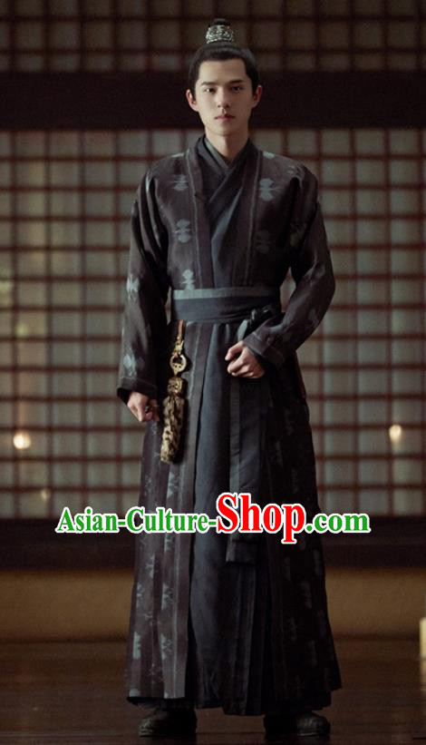 Chinese Ancient Royal Prince Black Clothing Drama Novoland Eagle Flag Lv Guichen Liu Haoran Replica Costumes for Men