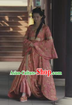 Drama Novoland Eagle Flag Pink Dress Chinese Ancient Princess of Yin Empire Bai Zhouyue Replica Costumes and Headpiece for Women